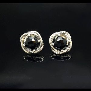 David Yurman Silver Black Onyx Infinity Earrings